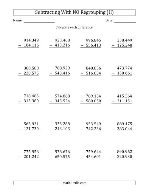 The 6-Digit Minus 6-Digit Subtraction with NO Regrouping with Period-Separated Thousands (H) Math Worksheet