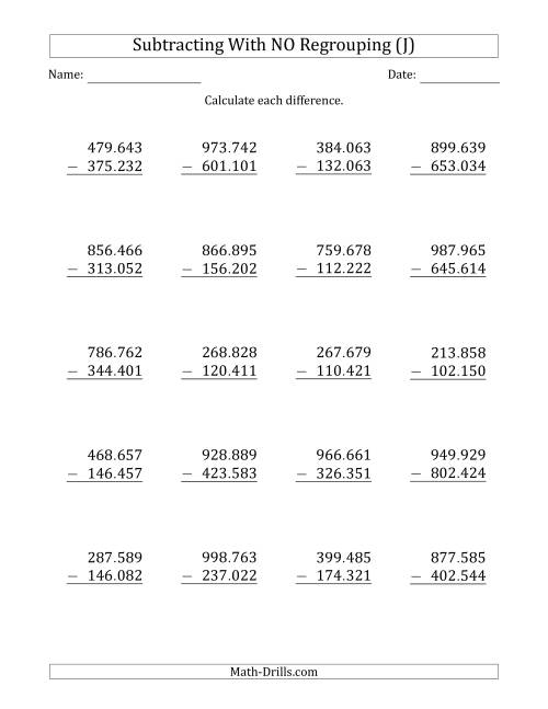 The 6-Digit Minus 6-Digit Subtraction with NO Regrouping with Period-Separated Thousands (J) Math Worksheet