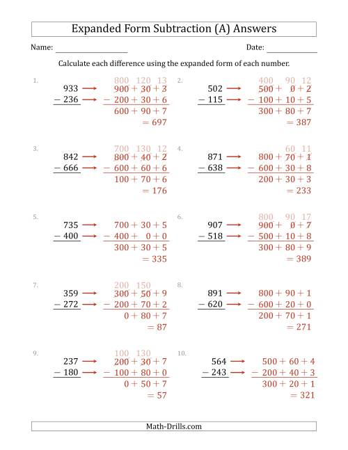 The 3-Digit Expanded Form Subtraction (A) Math Worksheet Page 2