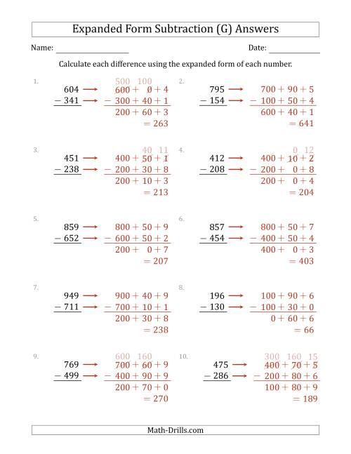 The 3-Digit Expanded Form Subtraction (G) Math Worksheet Page 2