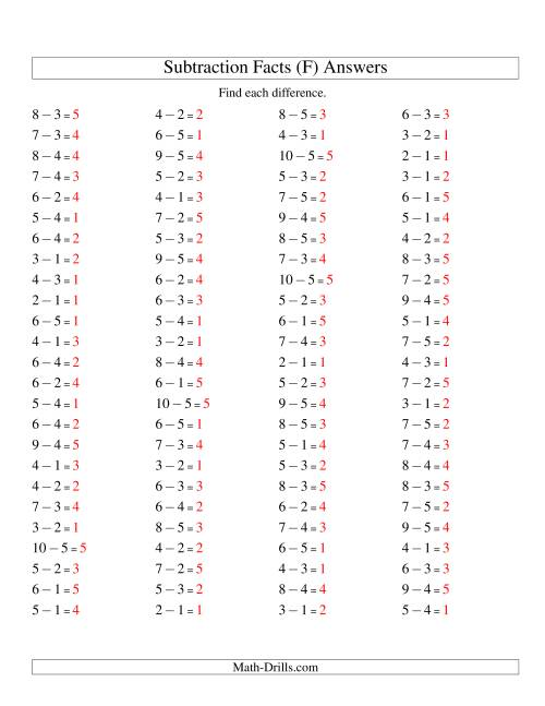 The Subtraction Facts to 10 -- Horizontal (F) Math Worksheet Page 2