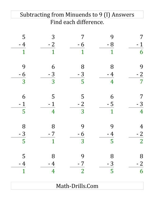 The 25 Subtraction Questions with Minuends up to 9 (I) Math Worksheet Page 2