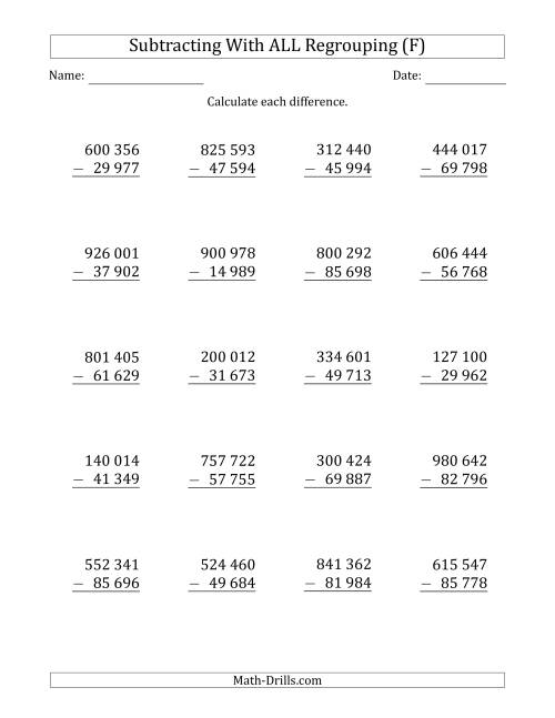 The Subtracting 5-Digit Numbers with All Regrouping with Space-Separated Thousands (F) Math Worksheet