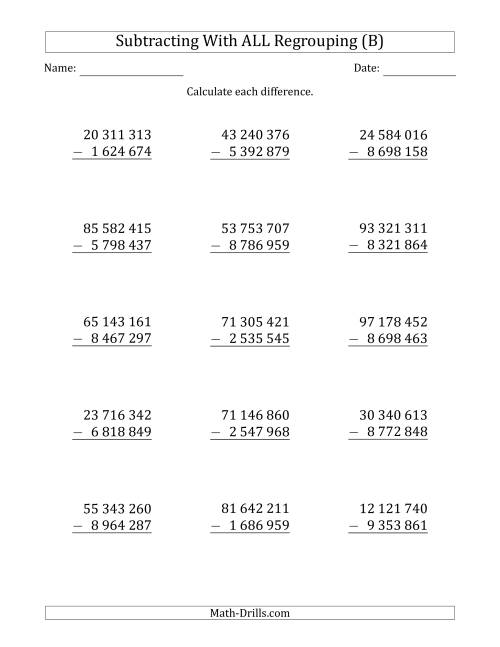 The Subtracting 7-Digit Numbers with All Regrouping with Space-Separated Thousands (B) Math Worksheet