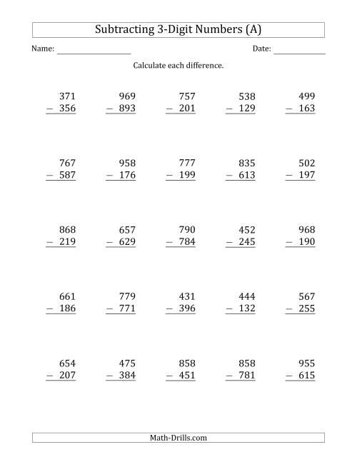 3Digit Minus 3Digit Subtraction A – Multi Digit Subtraction Worksheets