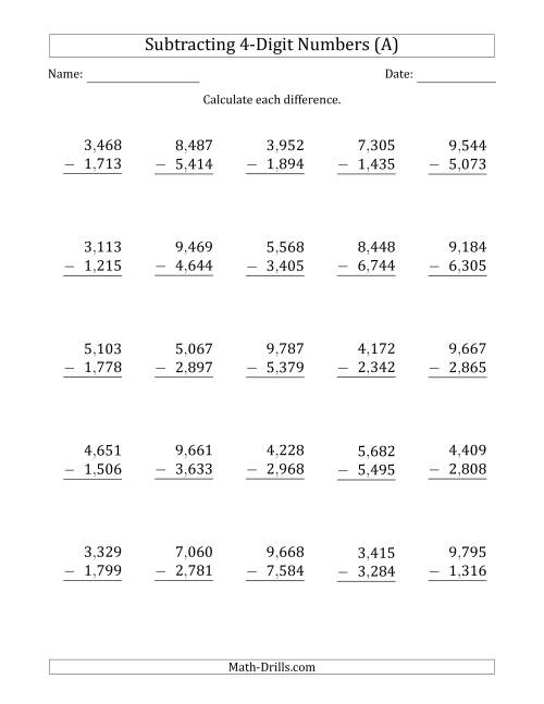 The 4-Digit Minus 4-Digit Subtraction with Comma-Separated Thousands (A) Math Worksheet