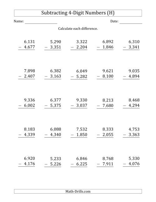 The 4-Digit Minus 4-Digit Subtraction with Comma-Separated Thousands (H) Math Worksheet