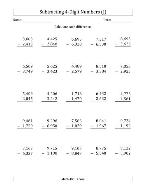 The 4-Digit Minus 4-Digit Subtraction with Comma-Separated Thousands (J) Math Worksheet