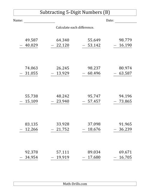 The 5-Digit Minus 5-Digit Subtraction with Comma-Separated Thousands (B) Math Worksheet