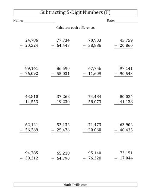 The 5-Digit Minus 5-Digit Subtraction with Comma-Separated Thousands (F) Math Worksheet