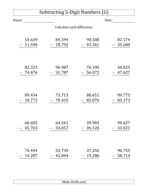 The 5-Digit Minus 5-Digit Subtraction with Comma-Separated Thousands (G) Math Worksheet