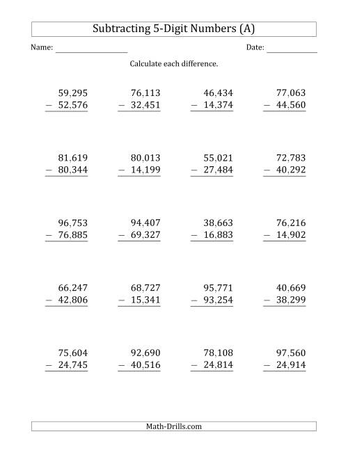 The 5-Digit Minus 5-Digit Subtraction with Comma-Separated Thousands (All) Math Worksheet