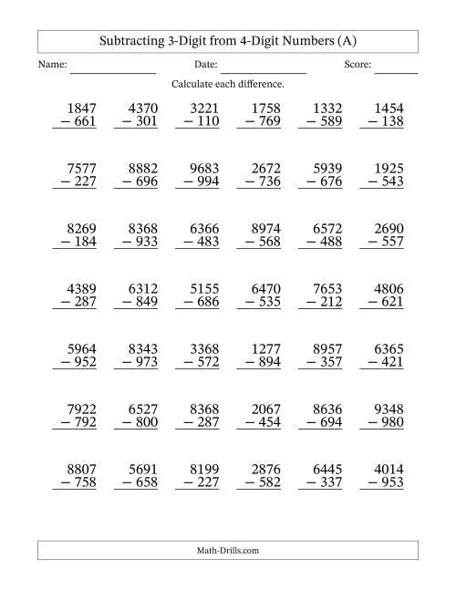 4Digit Minus 3Digit Subtraction A – 4 Digit Subtraction Worksheets