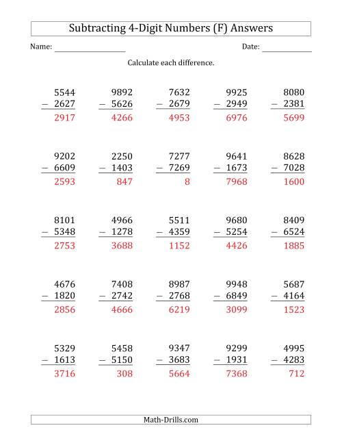 The 4-Digit Minus 4-Digit Subtraction (F) Math Worksheet Page 2