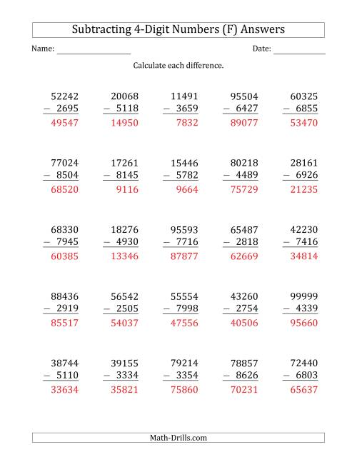 The 5-Digit Minus 4-Digit Subtraction (F) Math Worksheet Page 2
