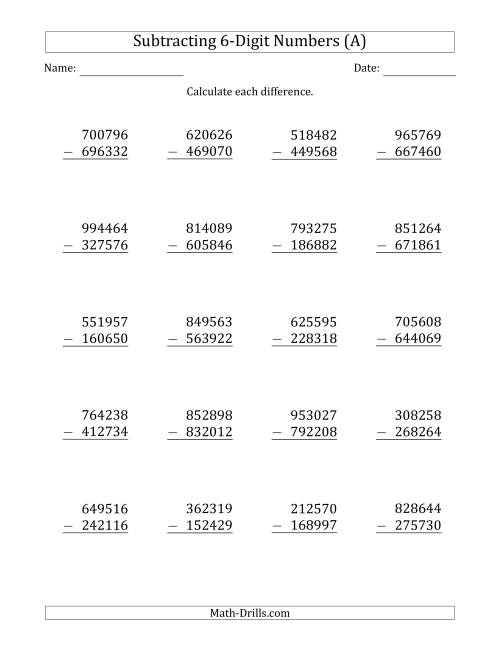The 6-Digit Minus 6-Digit Subtraction (A) Math Worksheet