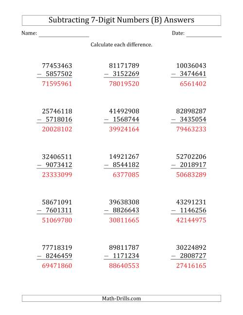 The 8-Digit Minus 7-Digit Subtraction (B) Math Worksheet Page 2