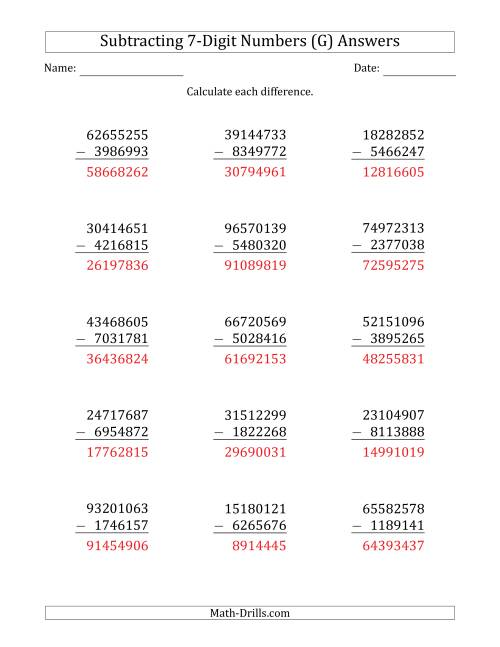 The 8-Digit Minus 7-Digit Subtraction (G) Math Worksheet Page 2