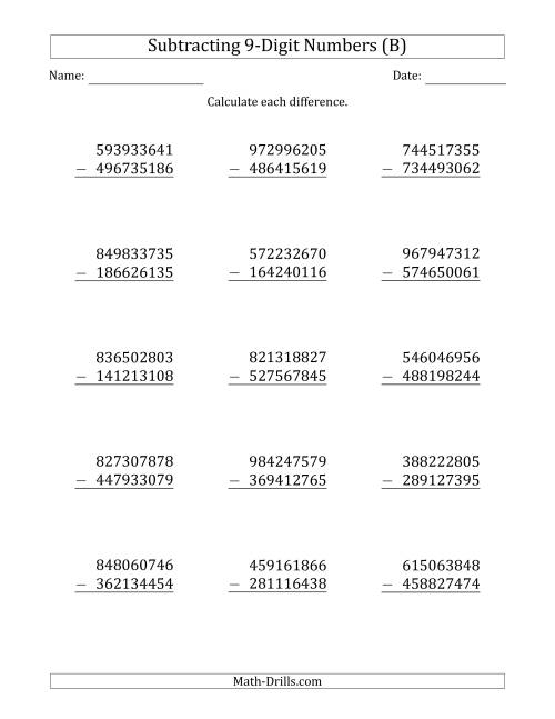 The 9-Digit Minus 9-Digit Subtraction (B) Math Worksheet