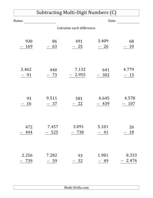 The Subtracting Various Multi-Digit Numbers from 2- to 4-Digits with Comma-Separated Thousands (C) Math Worksheet