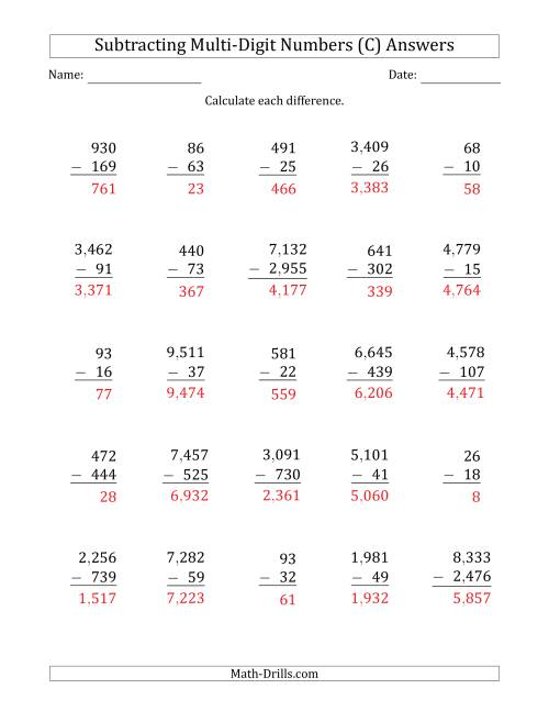 The Subtracting Various Multi-Digit Numbers from 2- to 4-Digits with Comma-Separated Thousands (C) Math Worksheet Page 2