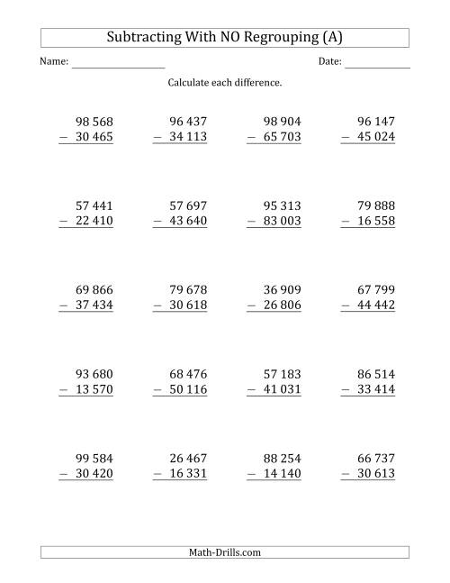 The 5-Digit Minus 5-Digit Subtraction with NO Regrouping with Space-Separated Thousands (A) Math Worksheet
