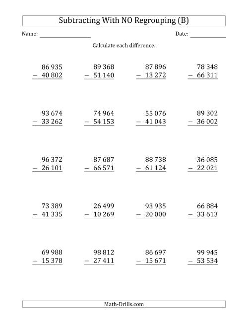 The 5-Digit Minus 5-Digit Subtraction with NO Regrouping with Space-Separated Thousands (B) Math Worksheet