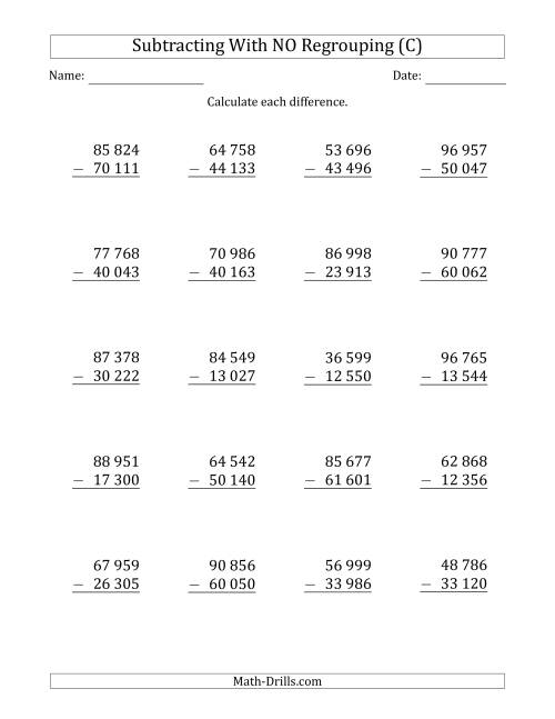 The 5-Digit Minus 5-Digit Subtraction with NO Regrouping with Space-Separated Thousands (C) Math Worksheet