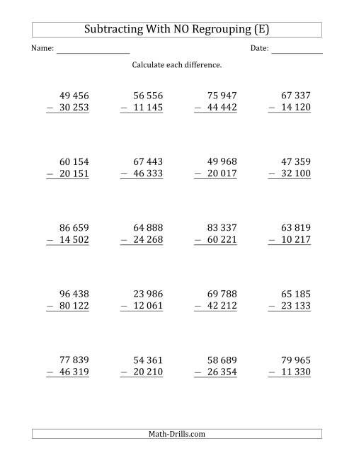 The 5-Digit Minus 5-Digit Subtraction with NO Regrouping with Space-Separated Thousands (E) Math Worksheet