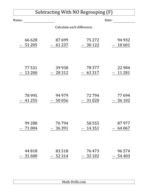 The 5-Digit Minus 5-Digit Subtraction with NO Regrouping with Space-Separated Thousands (F) Math Worksheet