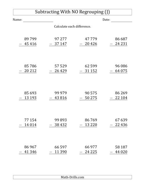 The 5-Digit Minus 5-Digit Subtraction with NO Regrouping with Space-Separated Thousands (J) Math Worksheet