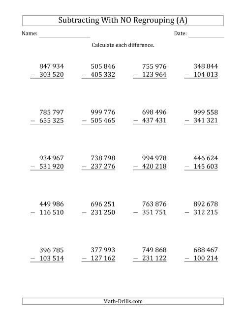 The 6-Digit Minus 6-Digit Subtraction with NO Regrouping with Space-Separated Thousands (All) Math Worksheet