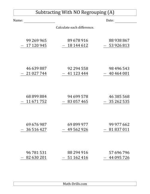 The 8-Digit Minus 8-Digit Subtraction with NO Regrouping with Space-Separated Thousands (A) Math Worksheet