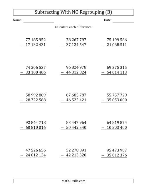 The 8-Digit Minus 8-Digit Subtraction with NO Regrouping with Space-Separated Thousands (B) Math Worksheet