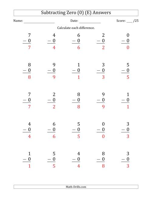 The Subtracting Zero (0) with Differences 0 to 9 (25 Questions) (E) Math Worksheet Page 2