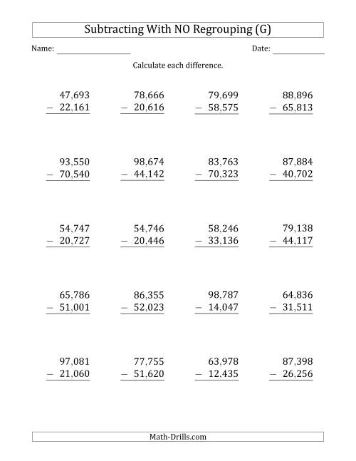 The 5-Digit Minus 5-Digit Subtraction with NO Regrouping with Comma-Separated Thousands (G) Math Worksheet