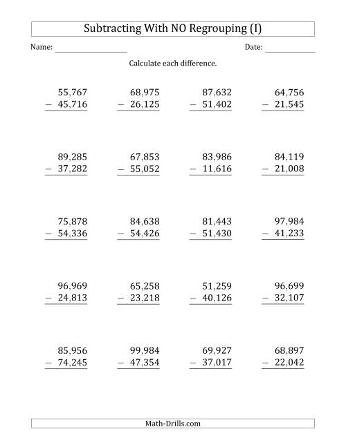 The 5-Digit Minus 5-Digit Subtraction with NO Regrouping with Comma-Separated Thousands (I) Math Worksheet