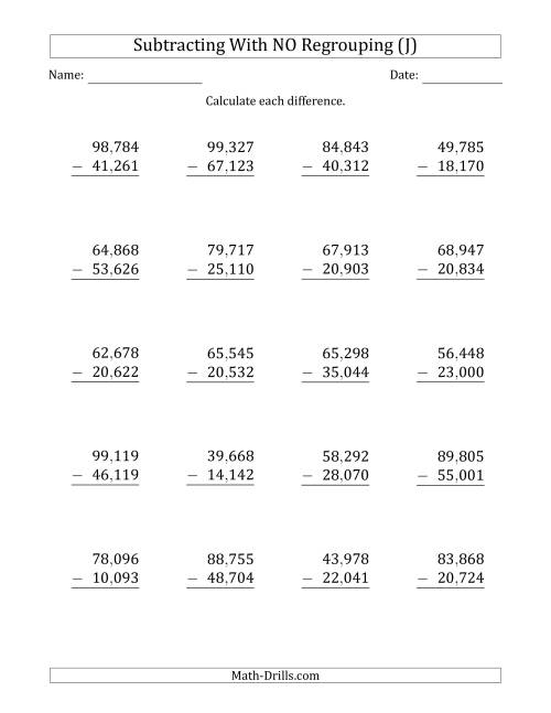 The 5-Digit Minus 5-Digit Subtraction with NO Regrouping with Comma-Separated Thousands (J) Math Worksheet