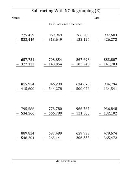 The 6-Digit Minus 6-Digit Subtraction with NO Regrouping with Comma-Separated Thousands (E) Math Worksheet
