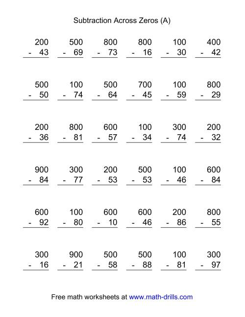 Subtracting Across Zeros Worksheets – Subtraction Across Zeros Worksheet