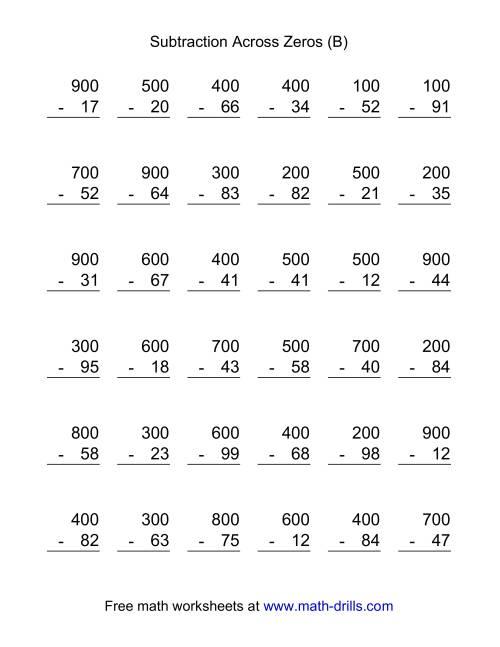 Subtracting Across Zeros Worksheetsrd Grade Zeros Subtraction – Subtraction with Regrouping Across Zeros Worksheets