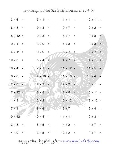 Cornucopia Multiplication Facts to 144 (A) Thanksgiving Math Worksheet