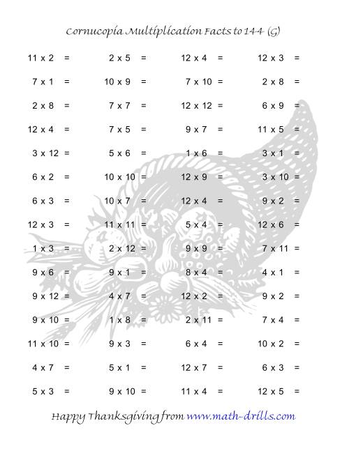 The Cornucopia Multiplication Facts to 144 (G) Math Worksheet