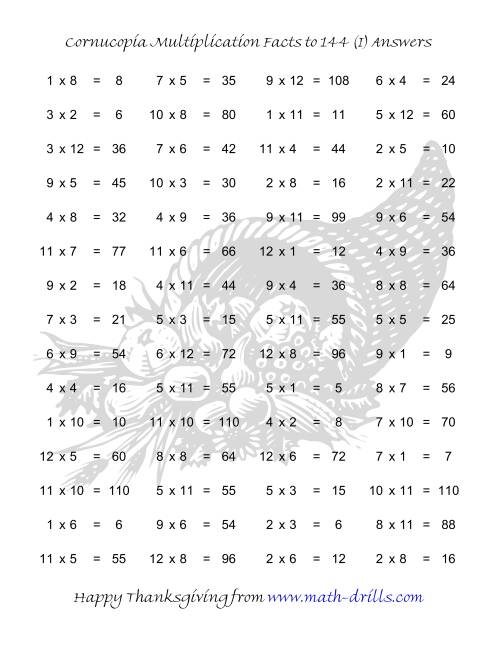 The Cornucopia Multiplication Facts to 144 (I) Math Worksheet Page 2