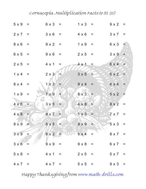 The Cornucopia Multiplication Facts to 81 (D) Math Worksheet