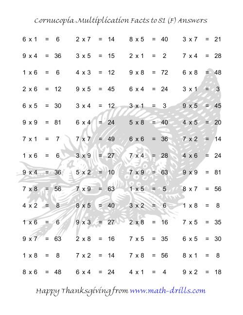 The Cornucopia Multiplication Facts to 81 (F) Math Worksheet Page 2