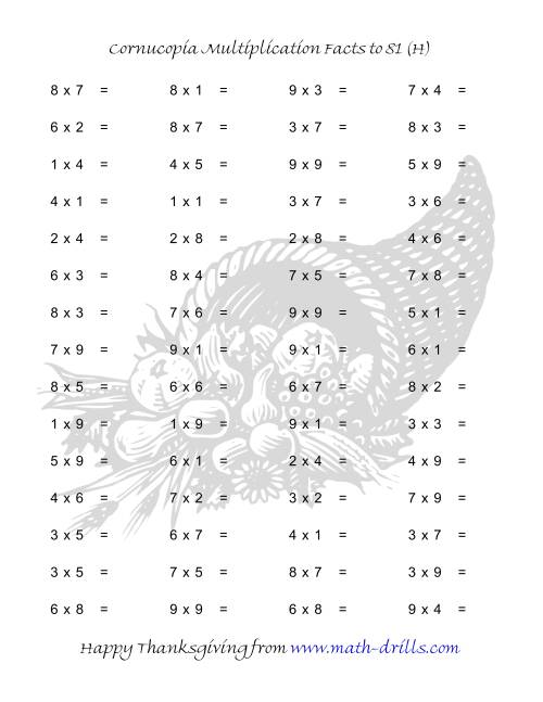 The Cornucopia Multiplication Facts to 81 (H) Math Worksheet