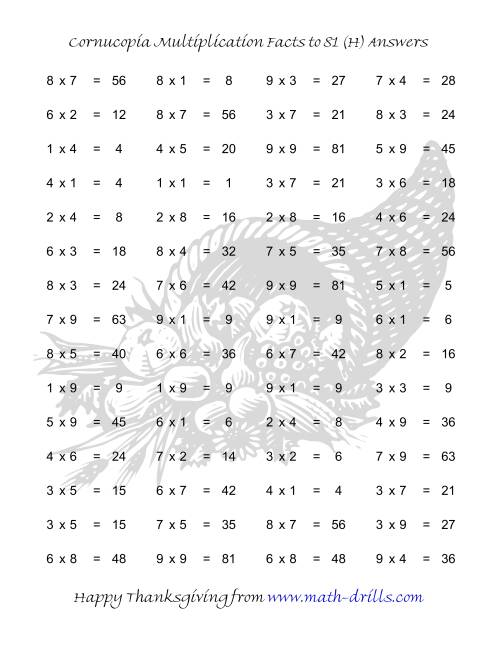 The Cornucopia Multiplication Facts to 81 (H) Math Worksheet Page 2