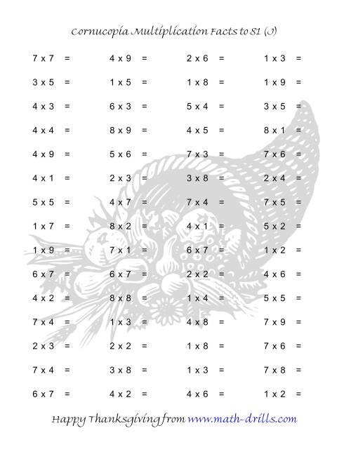 The Cornucopia Multiplication Facts to 81 (J) Math Worksheet