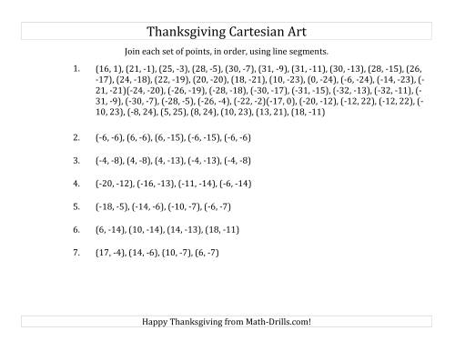 The Cartesian Art Thanksgiving Pilgrim Hat (C) Math Worksheet Page 2